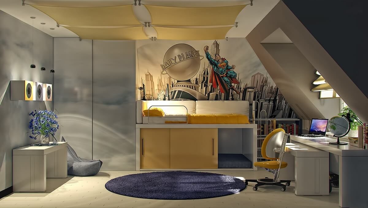admirable-kids-bedroom-cool-superman-themed-boys-room-design-ideas-with-awesome-wall-mural-loft-yellow-bed-sliding-doors-cabinet-and-nice-modern-study-space-fun-attractive-kids-room