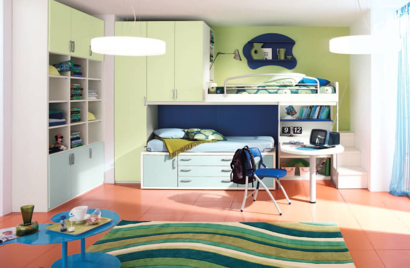 amazing-kids-bedroom-great-kids-bunk-beds-with-small-white-round-shape-study-desk-also-open-shelves-and-locker-also-green-wave-pattern-rug-fascinating-beds-for-boys-bedroom-design-ideas