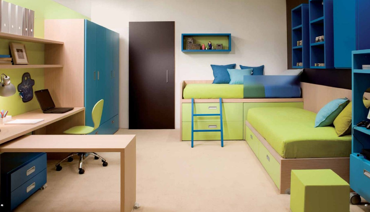 amusing-interior-teens-bedroom-kids-bedroom-youth-bedroom-and-study-room-design-inspiration-with-lime-green-and-blue-colors-ideas-for-boys-rooms-awesome-boys-rooms-design