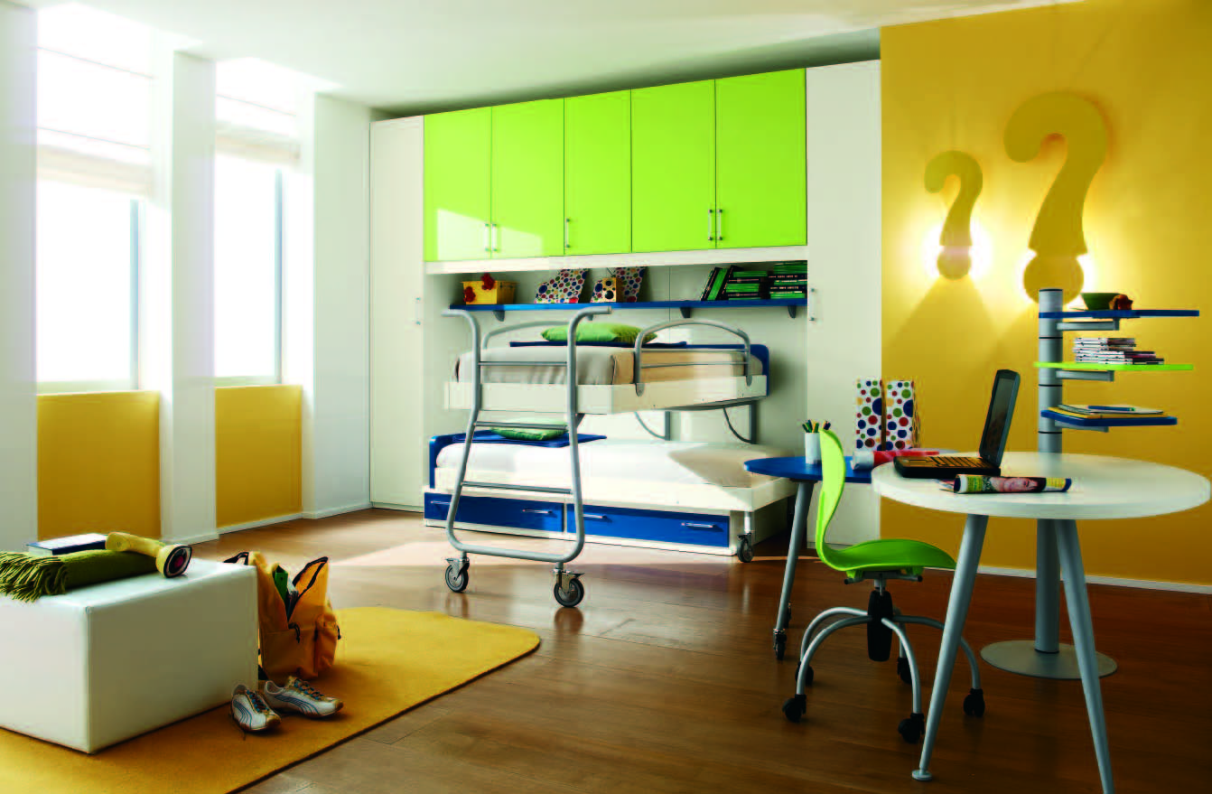 awesome-kids-bedroom-yellow-and-white-boys-bedroom-decor-with-sliding-loft-bed-and-light-green-closet-innovative-bedroom-ideas-for-cool-boys-room