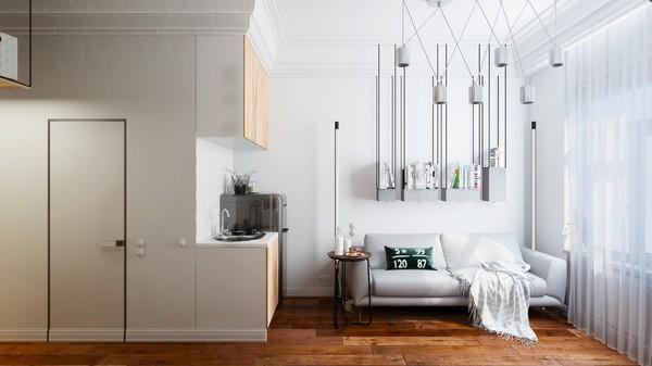 Không gian chính của căn hộ là một chiếc ghế sofa giường nhỏ nhưng tiện dụng.