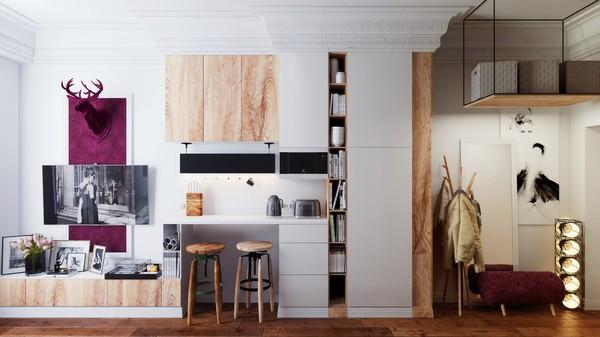 Hệ kệ ốp tường vừa là nơi lưu trữ đồ đạc, sách vở, bày đồ trang trí kiêm bàn ăn sáng - làm việc cực kỳ tiện. Gam màu trắng cùng tông màu nên tường được tô điểm thêm những mảng gỗ dán bằng gỗ tự nhiên giúp hệ tủ có điểm nhấn nhưng không bị cảm giác nặng nề.