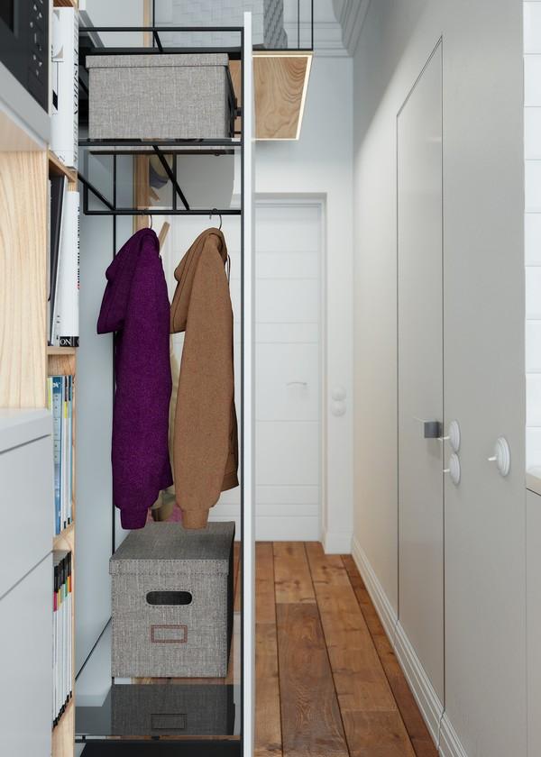 Với các ngăn kéo trượt, chủ nhân căn hộ có rất nhiều không gian để treo cũng như cất trữ đồ đạc.