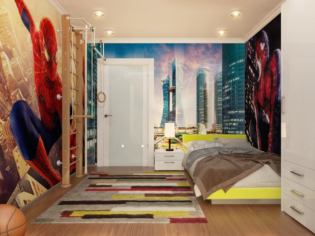 cool-kids-bedroom-wonderful-spiderman-themed-boys-room-design-ideas-with-amazing-huge-wallpaper-and-cool-down-lit-ladder-fun-attractive-kids-room-decor-ideas
