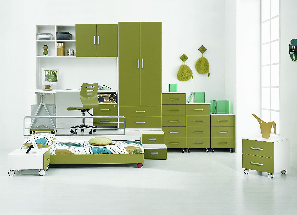 endearing-and-cool-boys-bedroom-design-ideas-kids-loft-beds-bedroom-modern-with-bookcase-and-green-drawers-also-wardrobe