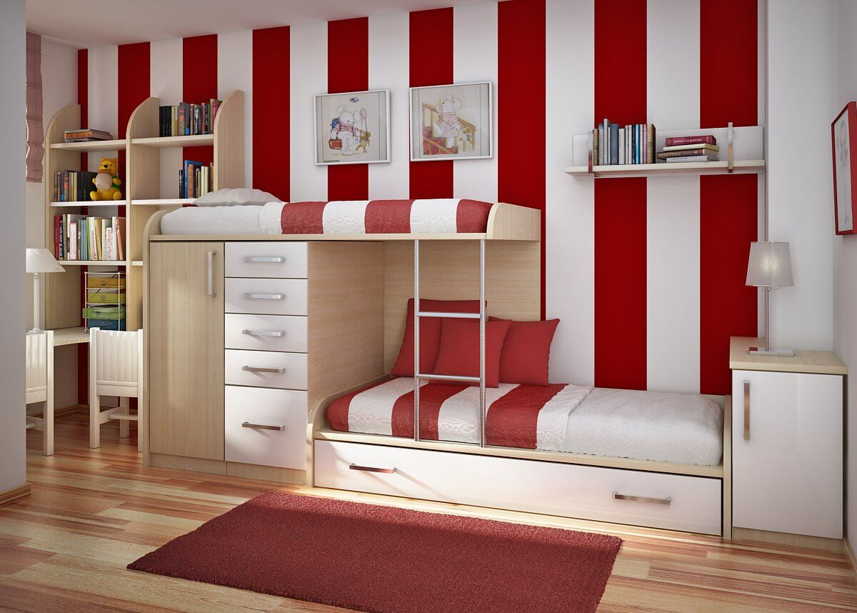 fantastic-cool-boys-bedroom-with-bunk-beds-and-mini-cupboard-also-red-white-striped-wall-color-with-wooden-bookcase-and-study-desk-plus-red-rug-and-laminate-floor