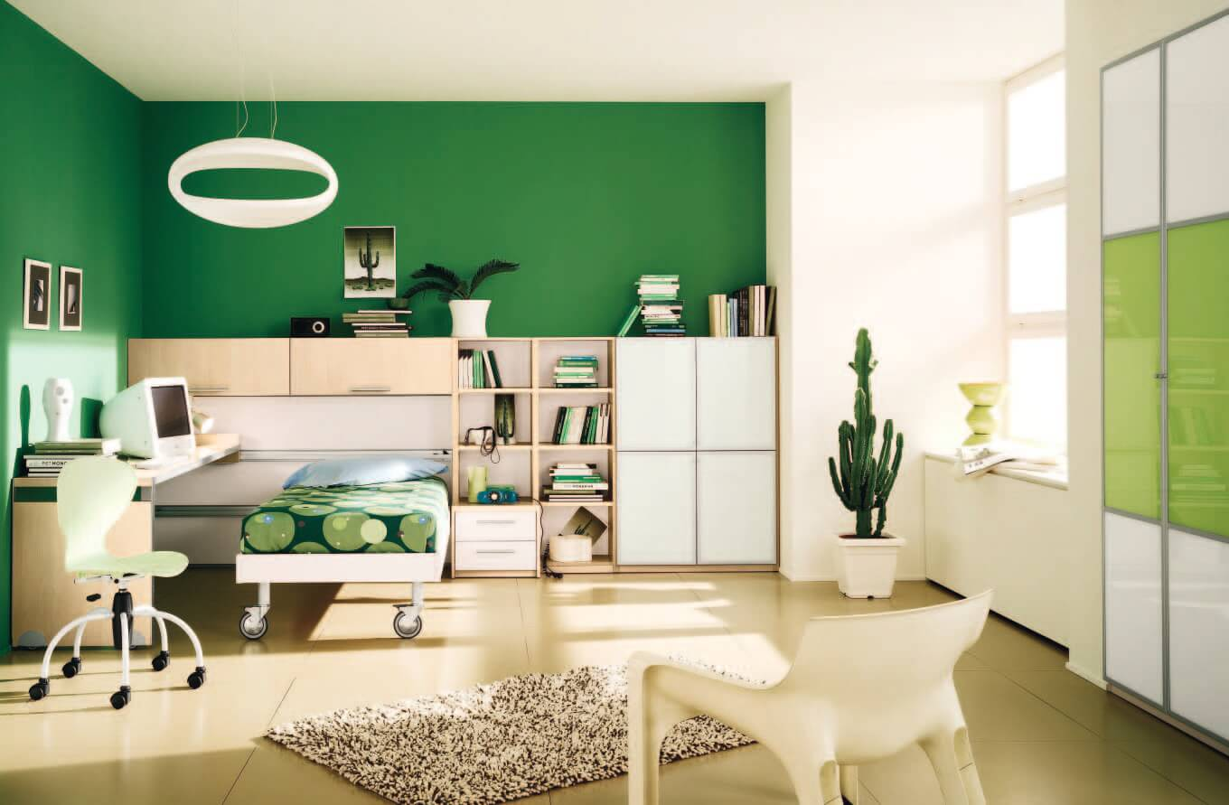 fascinating-modern-boys-bedroom-design-decorating-ideas-with-green-walls-single-bed-study-desk-swivel-chair-bookcase-pot-plant-and-wardrobe-also-small-fur-rug