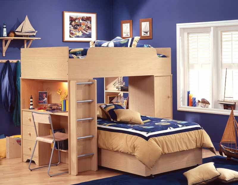 good-looking-bedroom-incredible-boy-bedroom-decoration-ideas-with-wood-bunk-bed-blue-sailor-bed-sheet-and-blue-wall-painting-gorgeous-kid-bedroom-decorating-design-ideas
