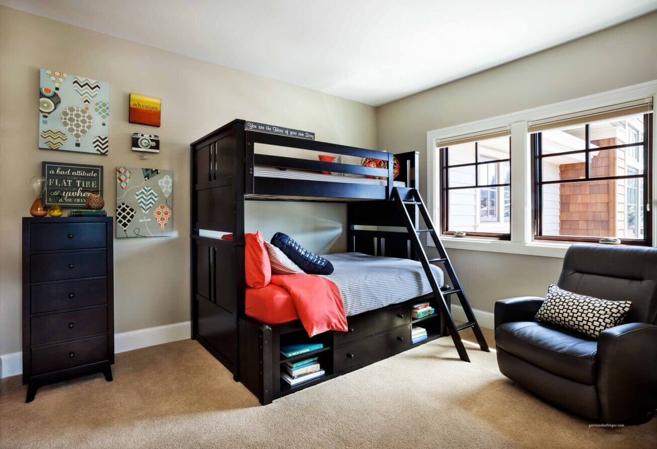 remarkable-boys-bedroom-ideas-with-charming-dark-wood-bunk-beds-with-stairs-and-brown-leather-sofa-classic-dark-wood-cabinet-also-comfy-light-brown-carpet-ideas