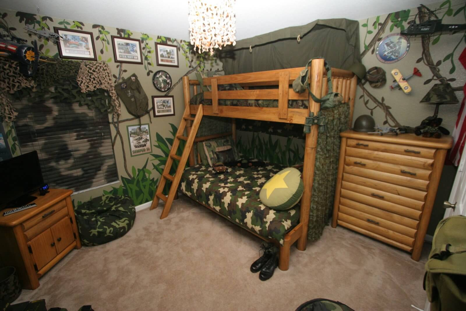 surprising-cool-boys-bedroom-design-with-army-theme-wtih-level-bunks-cool-wooden-log-drawer-design-forest-wallpaper-and-brown-fur-carpet-flooring-for-teenager-boys-bedroom