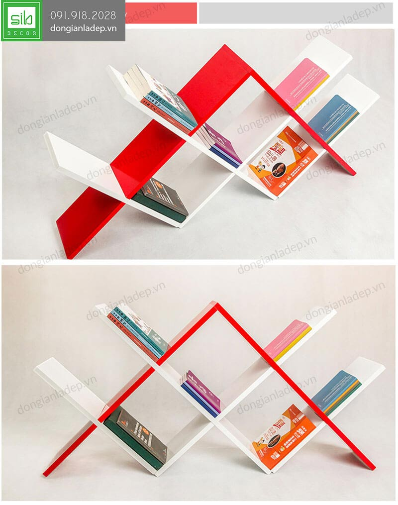 Kệ sách màu trắng đỏ sơn bóng 2K đẹp từng chi tiết