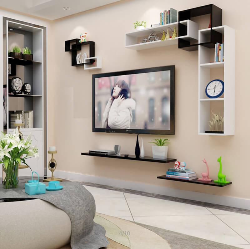 kệ tivi treo tường 2 màu trắng đen đơn giản