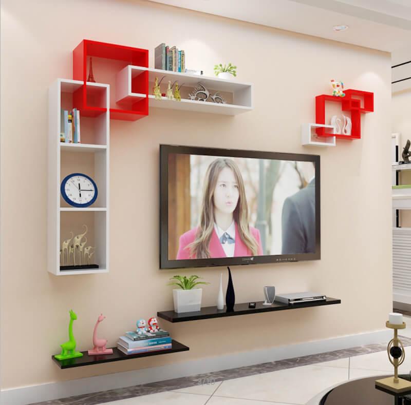 kệ tivi treo tường đen trắng và đỏ