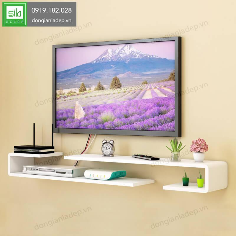 2 kệ trang trí tivi chữ J sơn 2K màu trắng