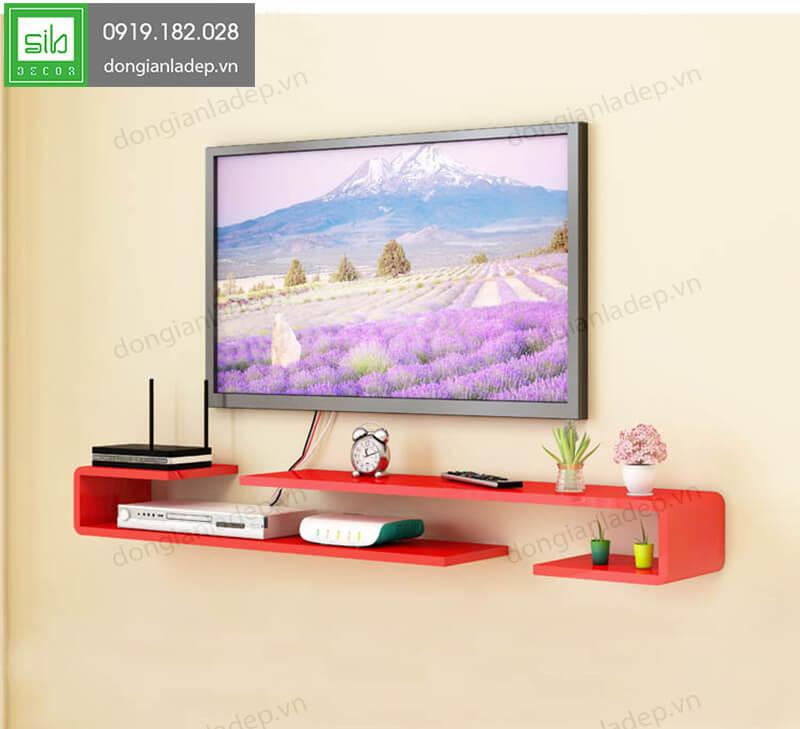 2 kệ trang trí tivi chữ J sơn 2K màu đỏ