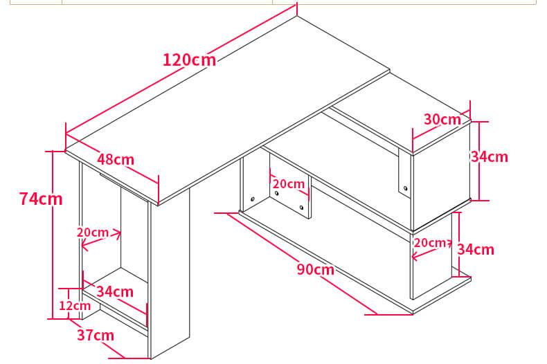 Kích thước chi tiết bàn làm việc BLV11