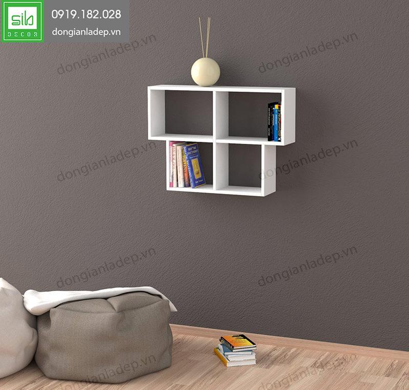 Kệ sách treo tường KT169 màu trắng