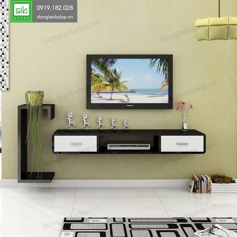 Style 2 Kệ tivi treo tường 2 ngăn kéo đen trắng