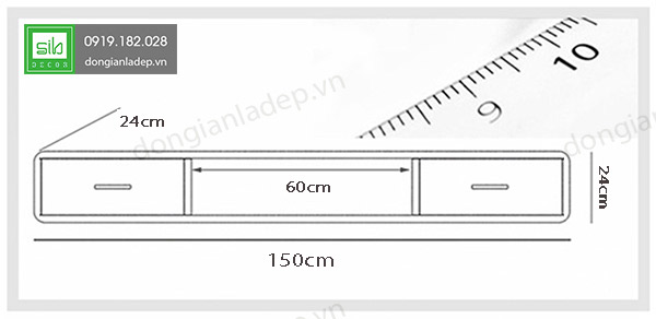 Kích thước kệ tivi treo tường KTV-1037