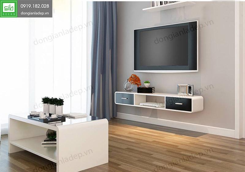 style 1 Kệ tivi treo tường 2 ngăn kéo trắng đen