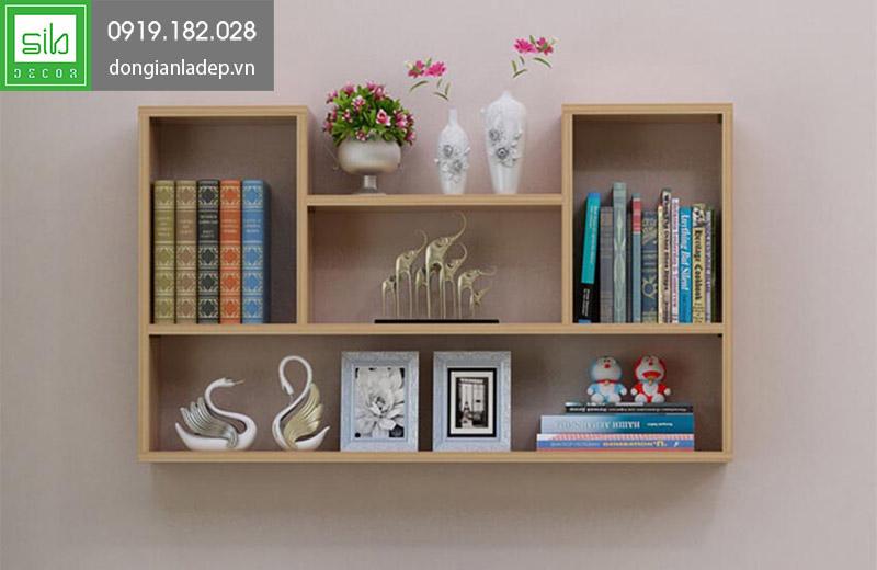 Giá sách treo tường KT182 màu vân gỗ đơn giản