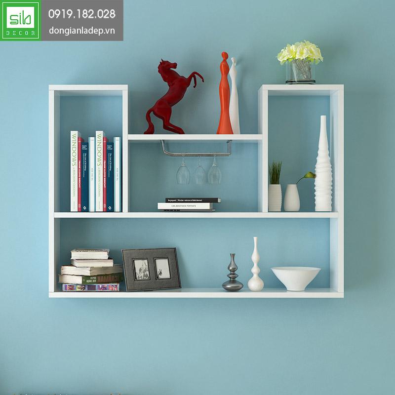 Giá sách treo tường KT182 màu trắng tinh tế