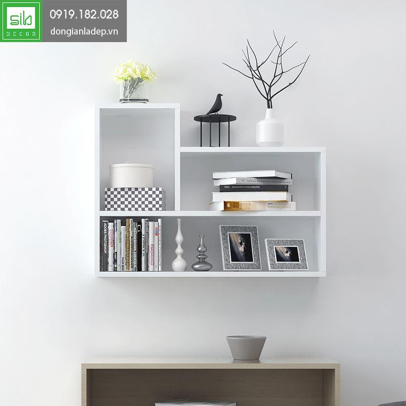 Kệ sách treo tường KT181 màu trắng sang trọng