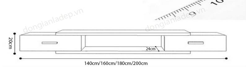 Kích thước của kệ tivi treo tường KTV-1023