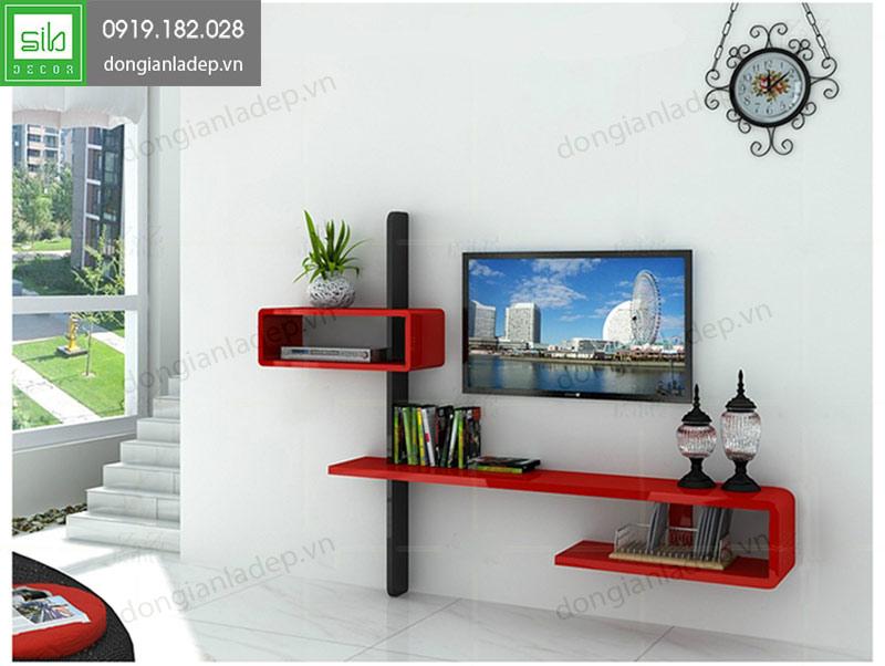 Kệ tivi treo tường phòng khách màu đỏ đen