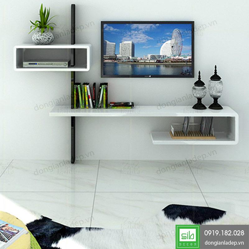 Kệ tivi treo tường phòng khách màu trắng đen