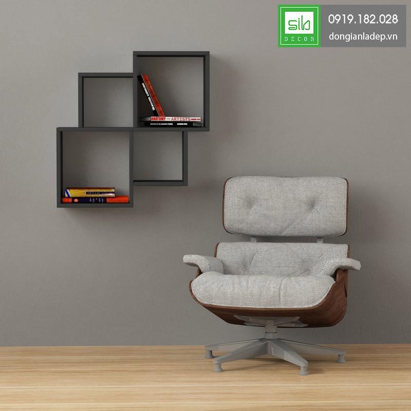 Kệ sách treo tường KTT-1087 màu đen