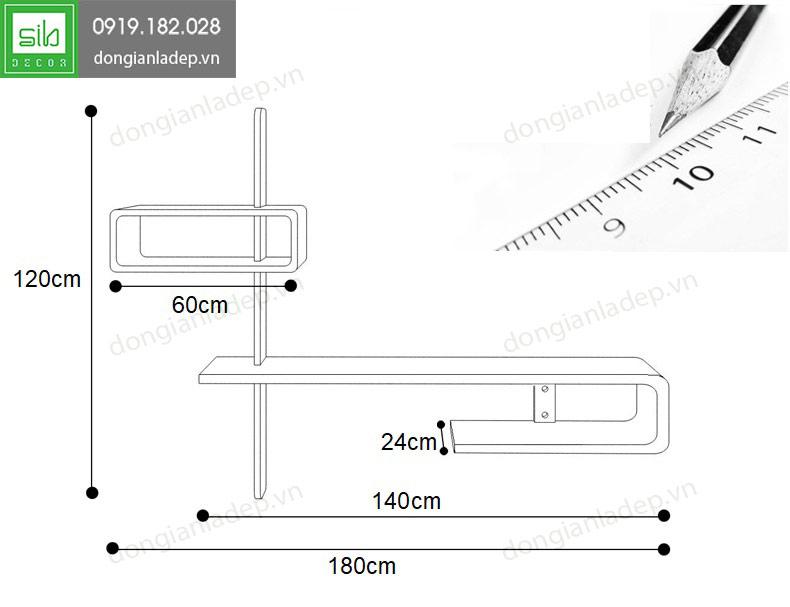 Kích thước kệ tivi treo tường phòng khách KTV-1025