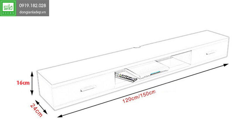 Kích thước của kệ tivi treo tường KTV-1051