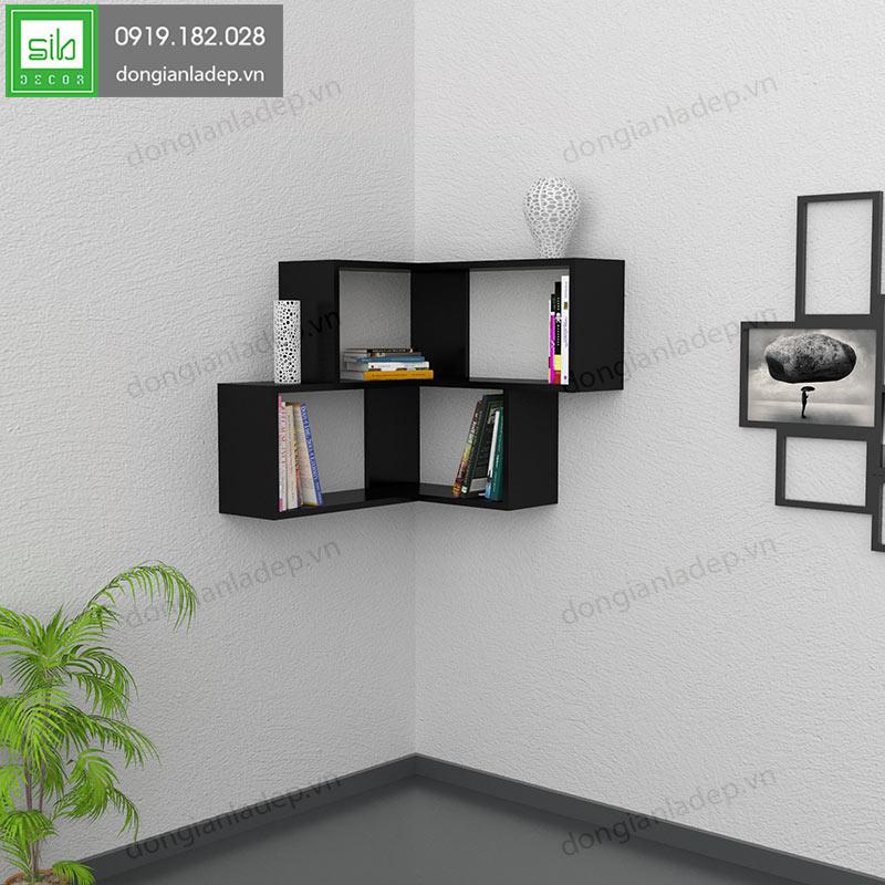 kệ gỗ treo tường màu đen