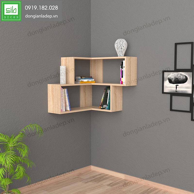 Kệ gỗ góc tường màu vân gỗ