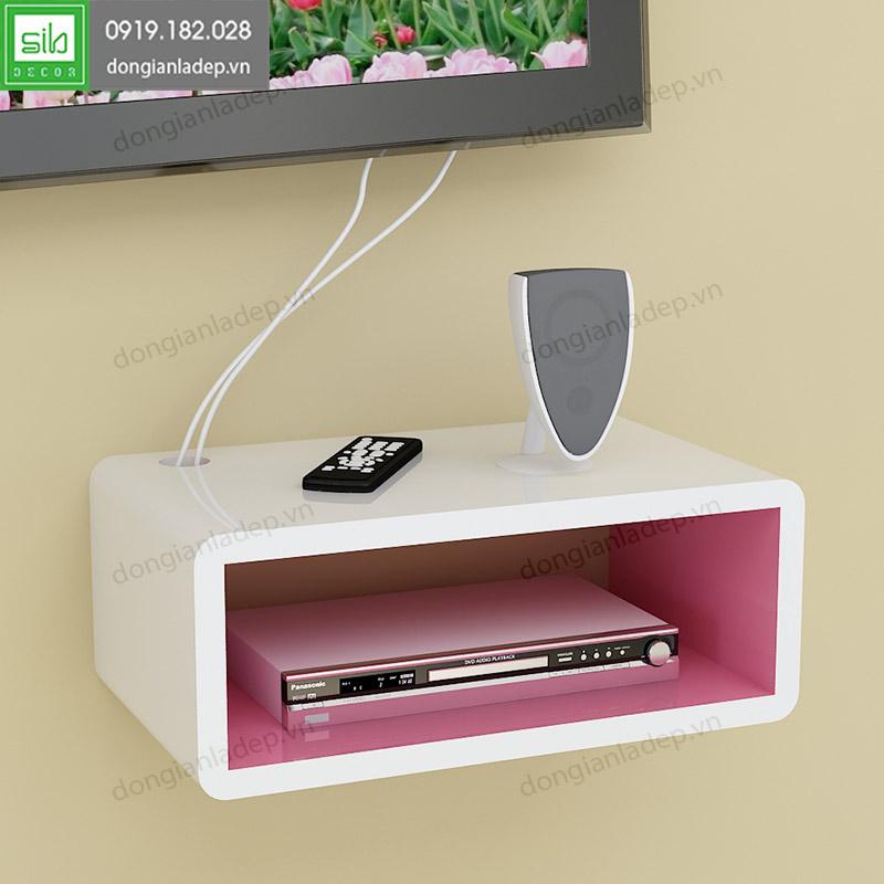 kệ tivi chữ nhật 40x20x15cm màu trắng hồng