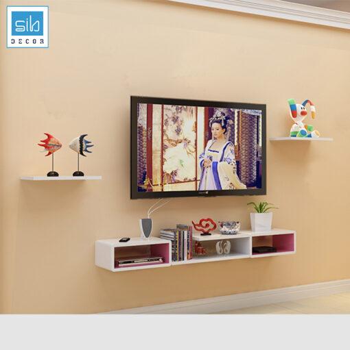 Bộ kệ tivi treo tường BST31 tinh tế với sự kết hợp giữa màu trắng và hồng