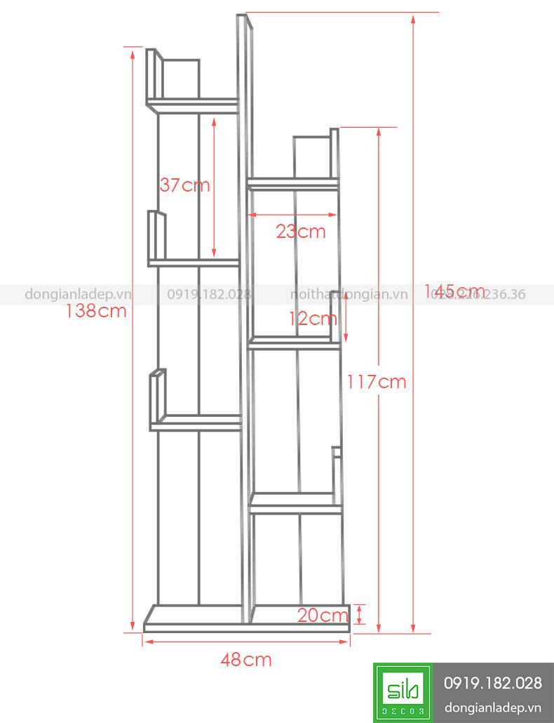 Kích thước kệ sách KS103 7 tầng