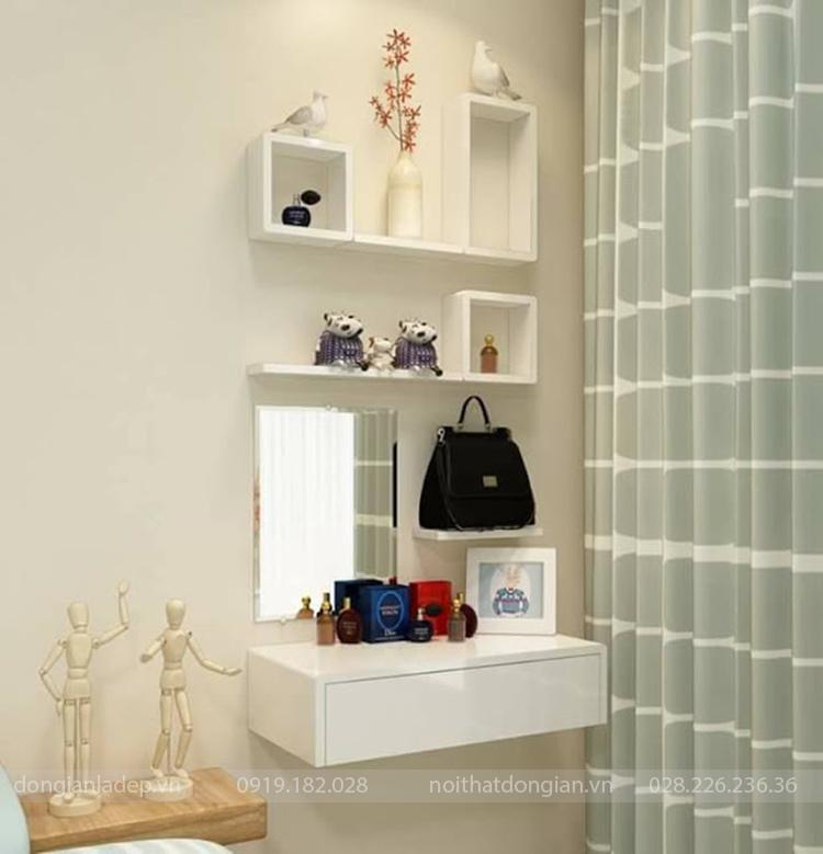Bộ kệ gỗ treo tường thay thế bàn trang điểm phòng ngủ đang tạo sức hút đặt biệt trong giới trẻ.