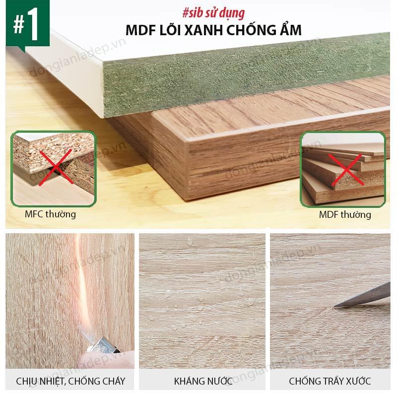 SIB sử dụng chất liệu gỗ Gỗ MDF phủ melamine An Cường - Lõi xanh kháng ẩm.