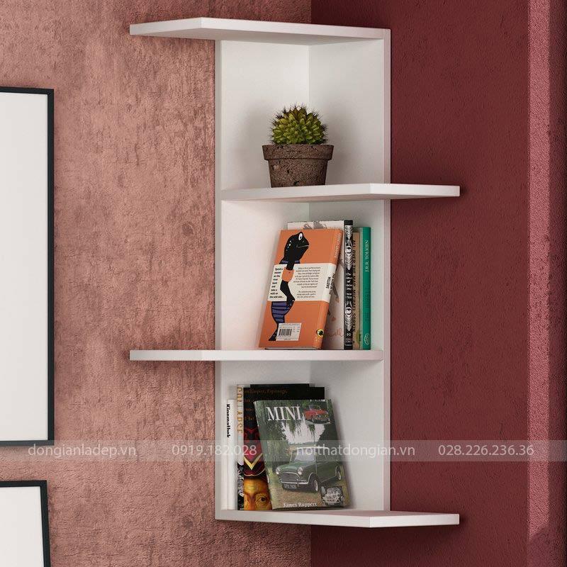 Kệ sách treo góc tường màu trắng