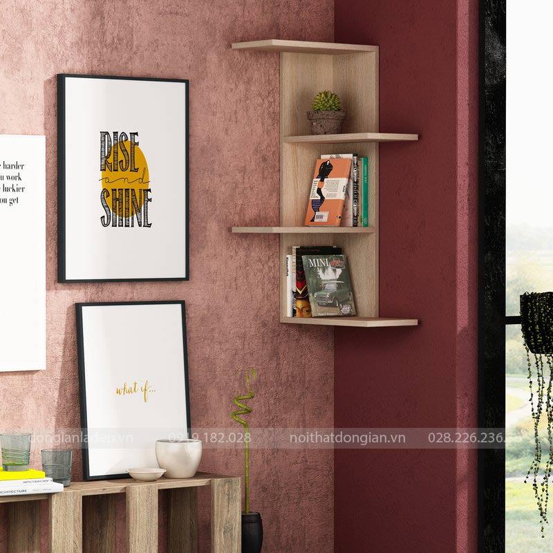 Kệ sách treo góc tường màu vân gỗ sồi