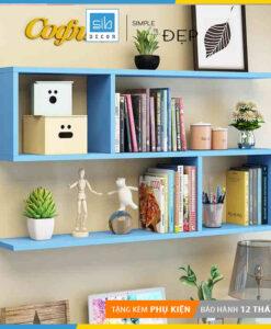 Kệ gỗ 3 tầng màu xanh mang đến sức sống mới cho không gian