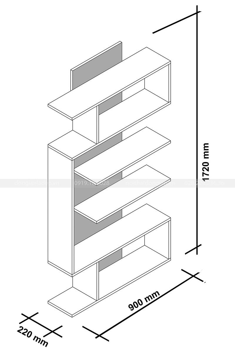 Kích thước chi tiết kệ sách KS031