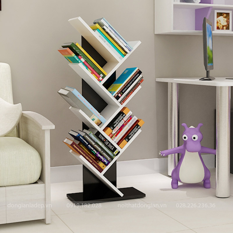 Kệ sách hình cây trắng đen