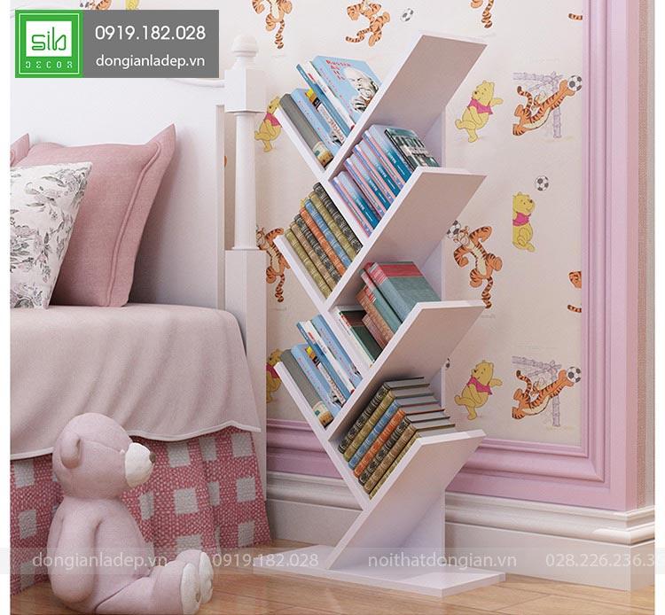 Kệ sách trắng tinh tế dễ thương trong ngủ