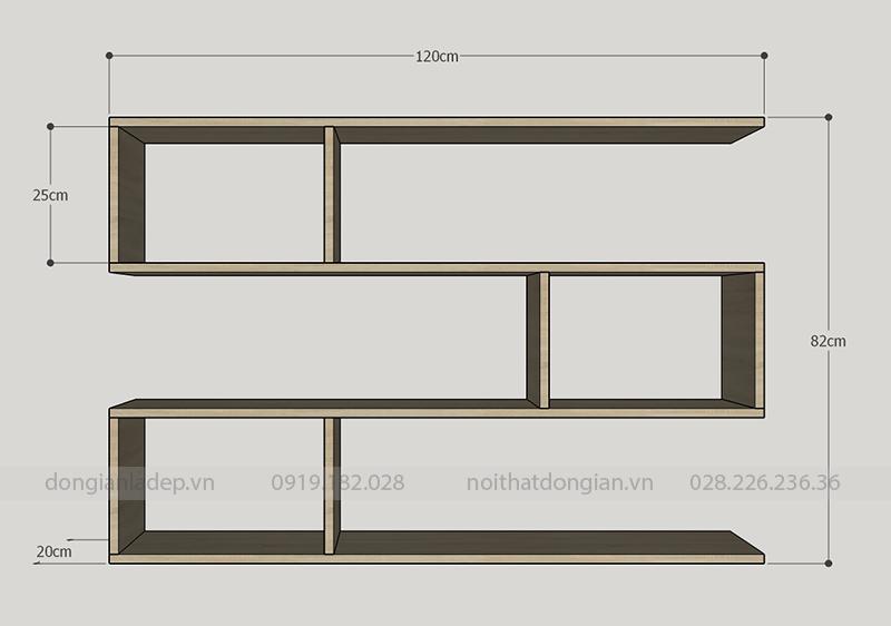 Kích thước chi tiết kệ sách treo tường KT206