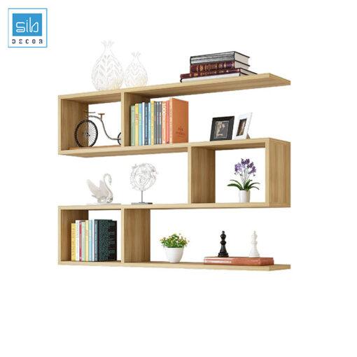 Kệ sách treo tường 4 tầng màu vân gỗ sồi hiện đại
