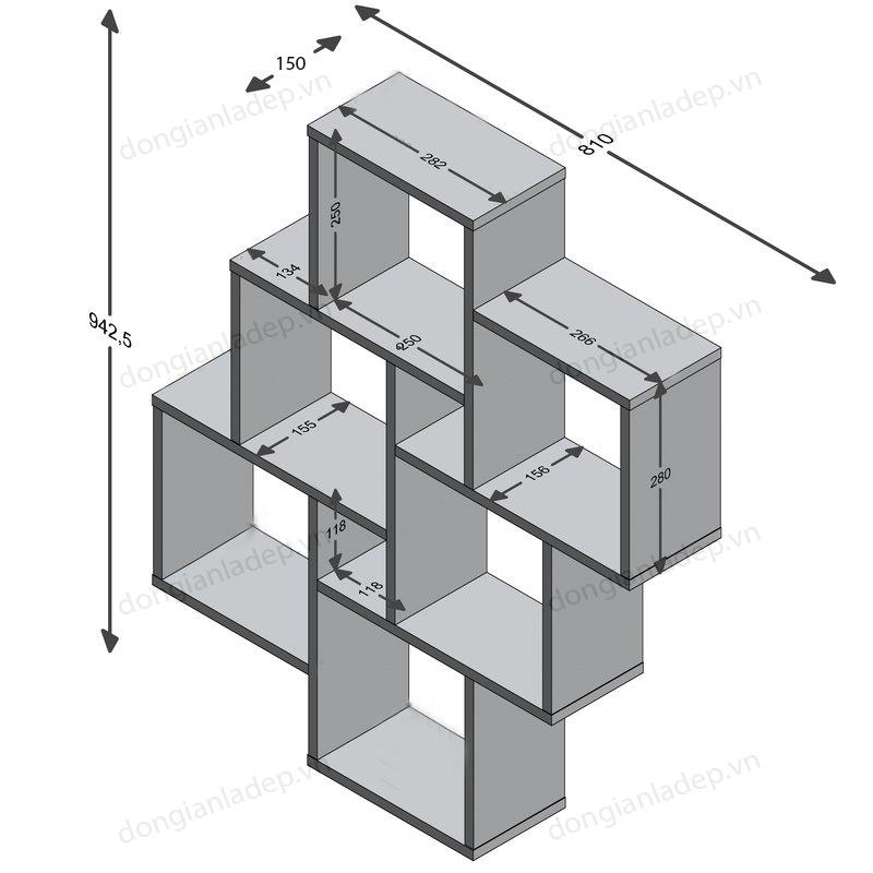 Kích thước chi tiết kệ gỗ treo tường KT203