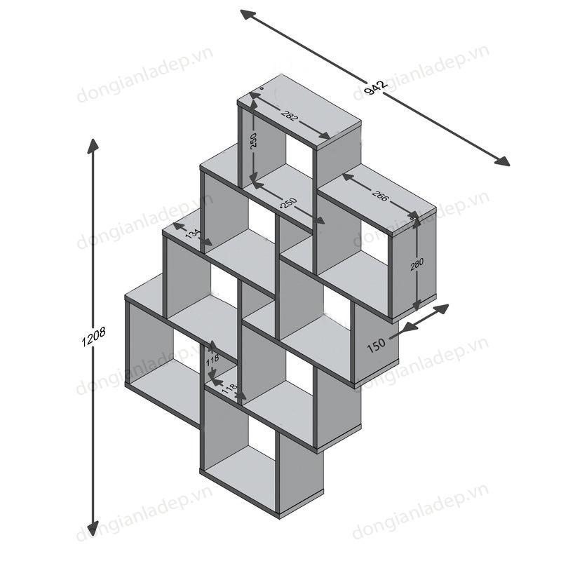 Kích thước kệ gỗ treo tường KT212